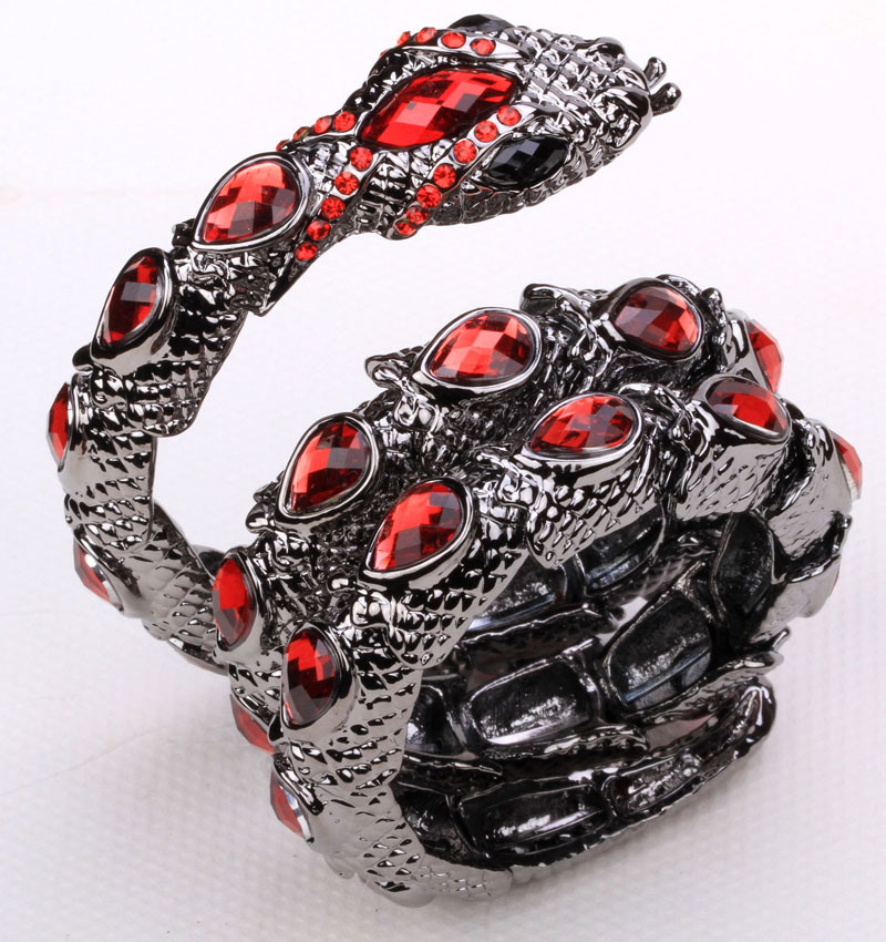 Snake stretch bracelet upper arm cuff armlet for women punk rock summer style crystal bangle jewelry  A05 black tone 2015(China (Mainland))