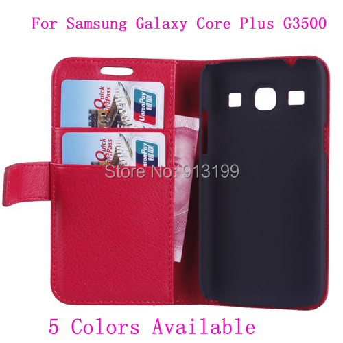 Wallet Stand Flip Leather Case Cover Skin Samsung Galaxy Core Plus G3500 / Trend 3 G3502 5 Colors - E-online store