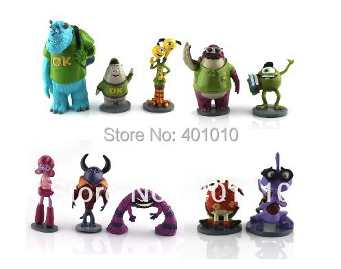 2013 new 10 pcs Set Monsters Inc. Monsters University Mike Wazowski James P. Sully PVC Figure Toy