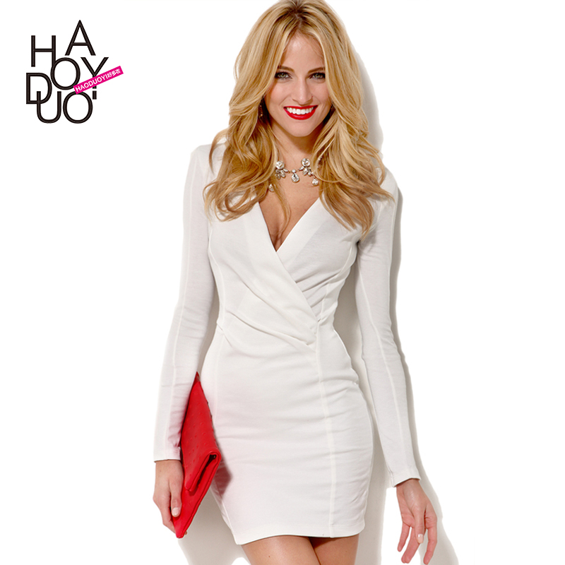 2015 haoduoyi vestido manga longa white black knitted elastic V-neck long sleeve bodycon dress plus size office work mini - shirley chan's store