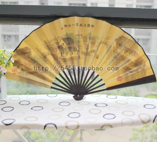 Male fan folding fan 10 Large double faced silk fan gift fan gifts abroad