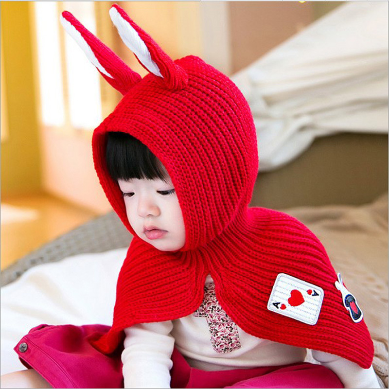 Winter Baby Hat and Scarf Joint With rabbit Style Crochet Knitted Caps for Infant Boys Girls 2017 New Fashion Kids Neck Warmer