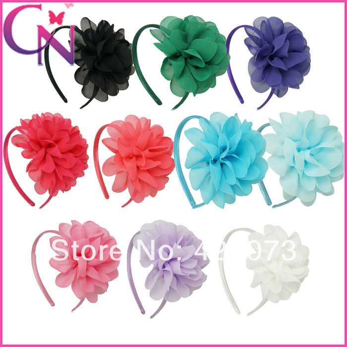30 Pcs/lot Chiffon Flower Hairband For Girls,Solid Chiffon Flower With Satin Covered Band,Handmade Chiffon Flower Hair Band(China (Mainland))