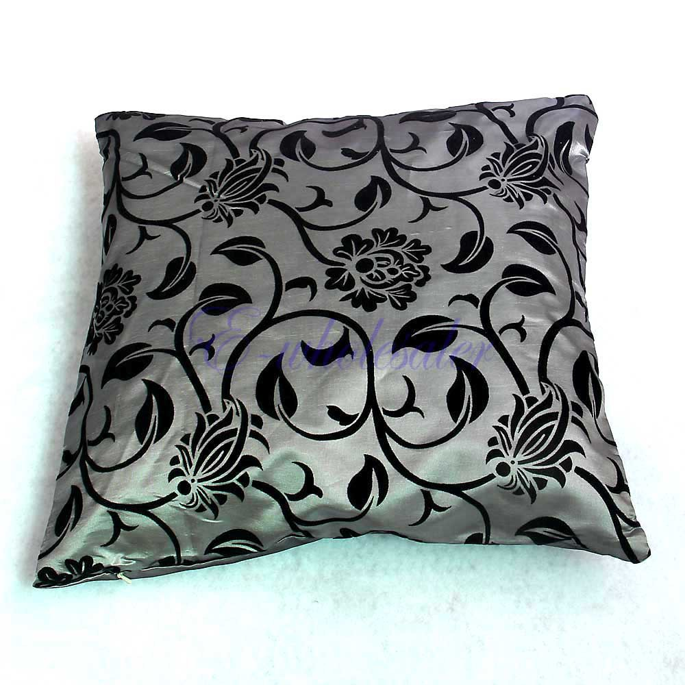 Gray Bed Throw Pillows : Aliexpress buy gray with black floral bed throw