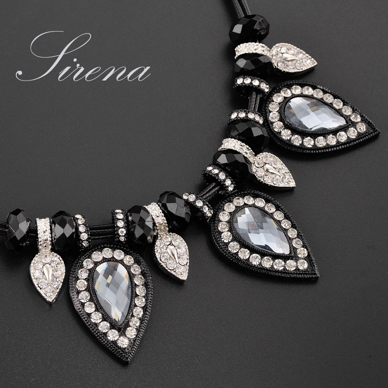 NC013 NC016 2015 Luxury Noble Rhinestone Crystal Statement Black Collar Choker Necklace Accessories Prom Jewelry Women - SIRENA store