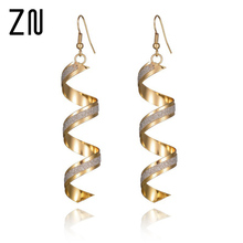 Buy Fashion Punk Women Twist Spiral Earring Lady Girl Dangle Earrings Charm Jewelry Valentine's Day Gift Silver Gold Black 3 Colors for $1.32 in AliExpress store