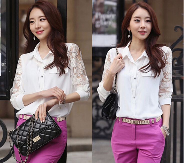 Professional Womens Lace Long Sleeve Casual Elegant Blouse Loose Tops T-Shirt(China (Mainland))