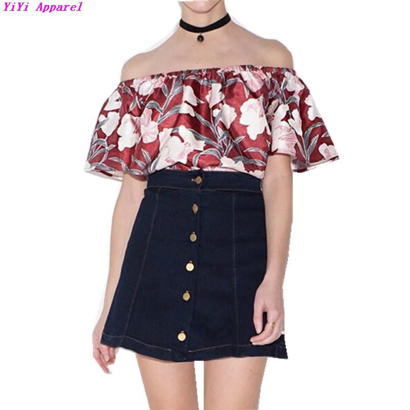 sexy flower print flare sleeve off shoulder t shirt 2016 summer off shoulder tee shirt femme. Black Bedroom Furniture Sets. Home Design Ideas