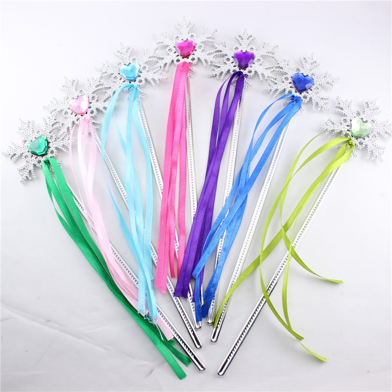 2016 Hot Sale Children Princess Magic Sticks Children Toys Magic Wands 7 Colors Snowflakes Silver Plastic Sticks With Ribbon(China (Mainland))