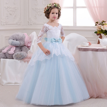 Sweet Tulle Ball Gown Half Sleeves Light Blue Open Back Gorgeous Scoop Chapel Train Little Bridesmaid Wedding Flower Girl Dress(China (Mainland))