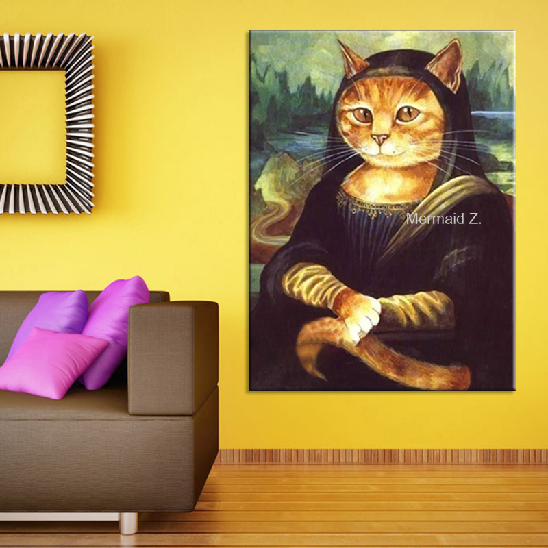 Pinturas Al Oleo Cuadros Hand Painted Oil Paintings Picture Mona Lisa Cat Oil Painting On Canvas For Home Decoration Rimless(China (Mainland))