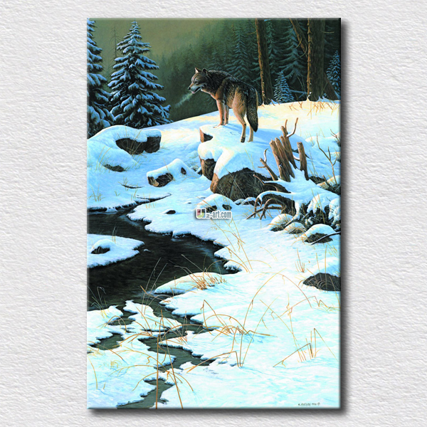 The winter scenery and wolf paintings for home decoration hot sell canvas painting printed