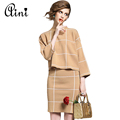 Women Winter Knitted Set Skirt and Knit Blouses Women Set Autumn 2016 Plaid Fashion Women New