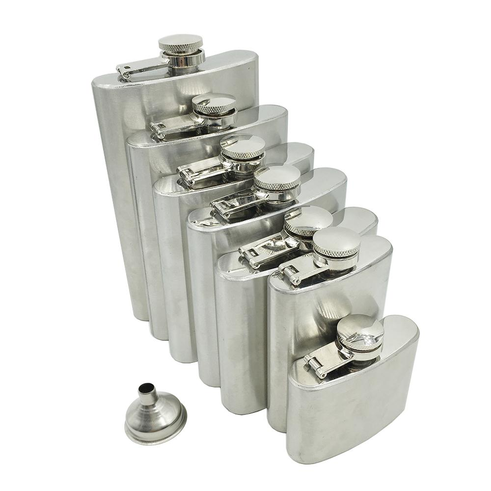 Hot Sale Trustworthy 1pc 10 8 7 6 5 3.5 2 oz Stainless Steel Hip Flask Liquor Whisky Alcohol Cap + Funnel(China (Mainland))