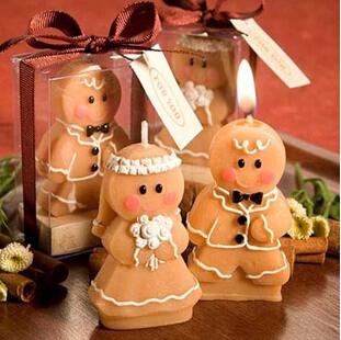 2016 10sets/lot Gingerbread bride and groom candle wedding favor gift wedding celebration decorative(China (Mainland))