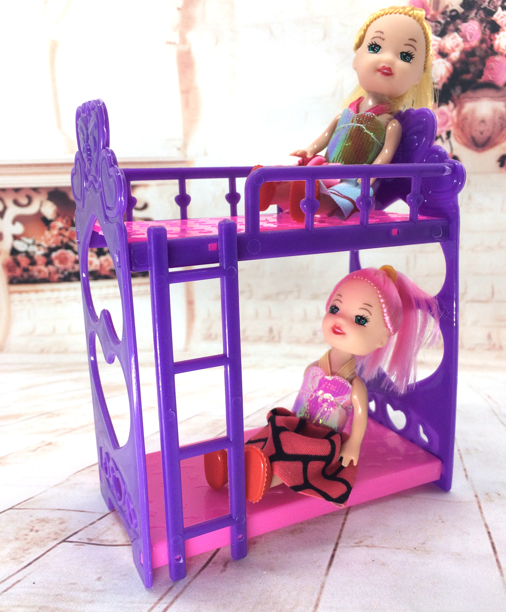 NK One Set Doll Accessories Super CutePlatic Bunk Bed Play House Toys For Mini doll house For Barbie Doll Kelly Doll(China (Mainland))