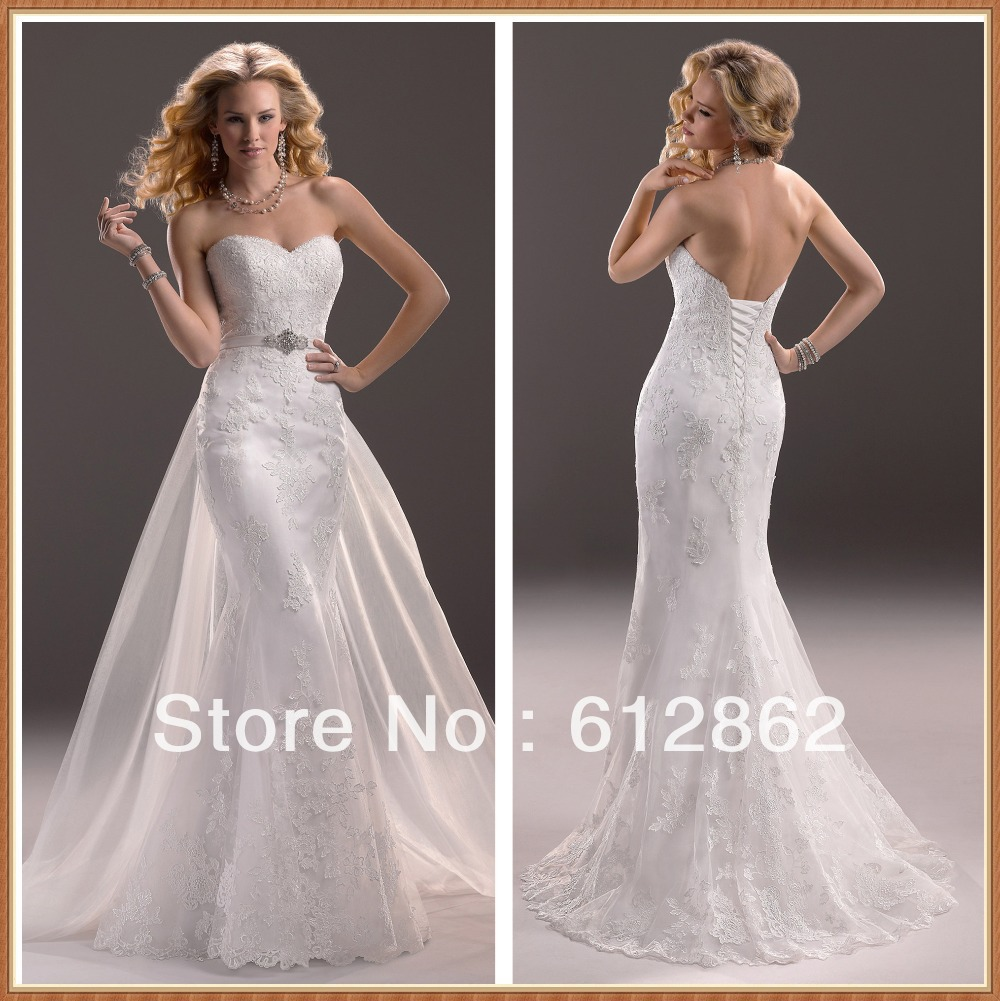 Strapless sweetheart neckline low back mermaid lace for Princess mermaid wedding dresses