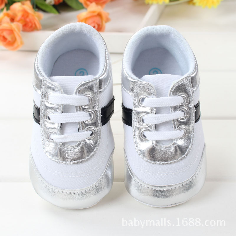 Spring baby little boys shoes for 1 year old Silver trim