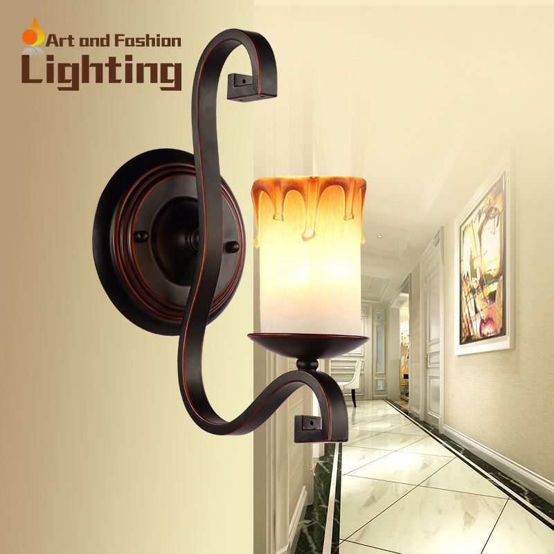 Decorative Flaming Candle Wall Sconce Vintage Brown Wrought Iron Glass Hallway Corridor Wall Lamp Creative candle lights(China (Mainland))