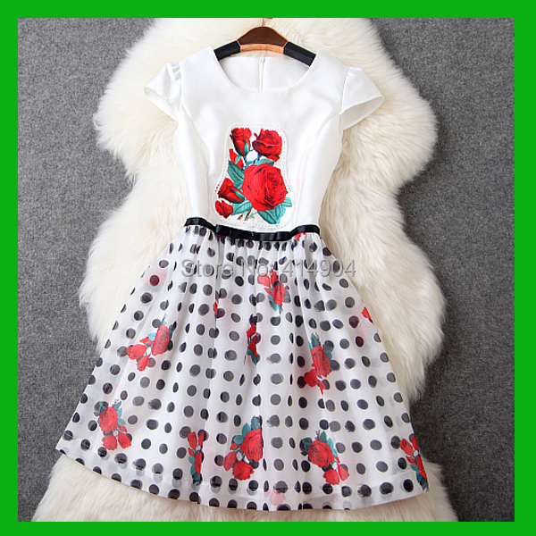 2015 europe united state style Rose printing Wave back waist Tutu short women sumer dress - U-DIsk Factory store