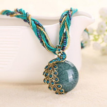 2016 Popular Bohemia Necklace sautoir national wind restoring ancient ways necklace peacock pendant Necklace HJXL010(China (Mainland))