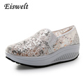 Bling Glitter Lace Loafers Spring Casual Platform Shoes Woman Summer Style Creepers Slip On Flats Comfortable