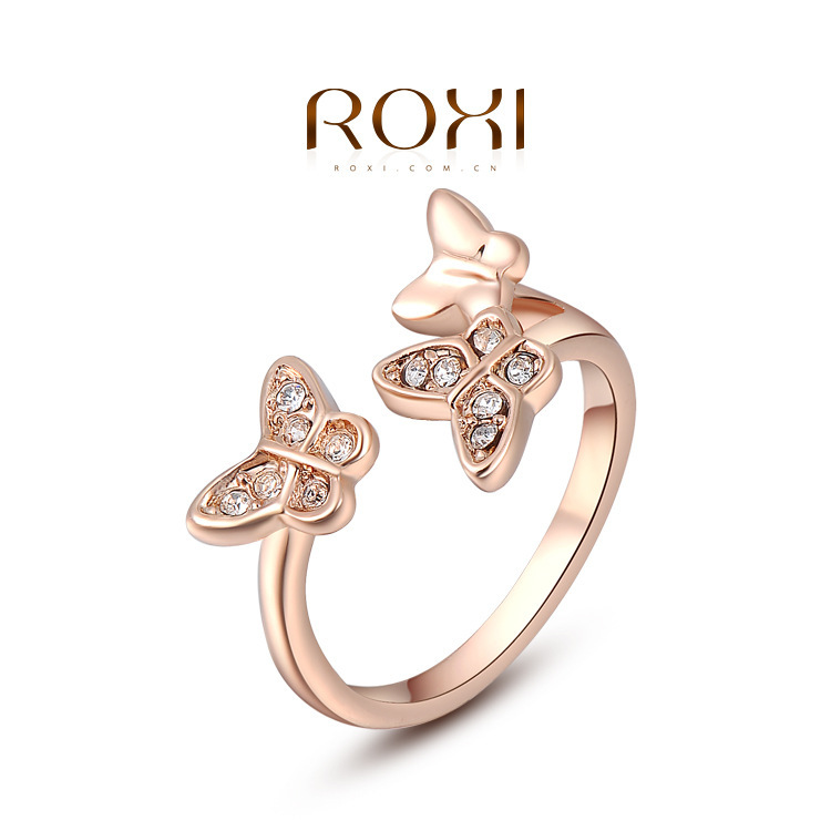 2014 Brand New ROXI Fashion Butterfly Party Rings Good Quality Genuine Australian Crystals,Rose Gold Plating2010289190 - Hot-Style store