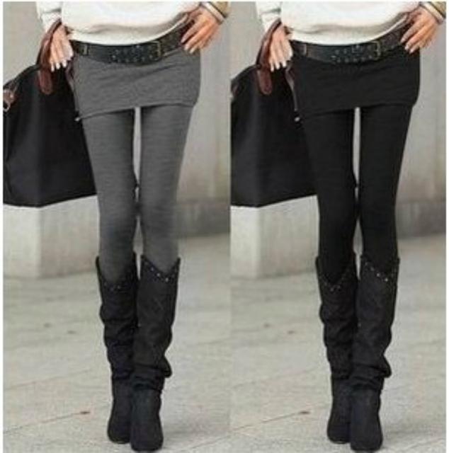 Горячая распродажа серый черный ложные два - брюки Pantskirt женская мода леггинсы с юбки уменьшают подходящие