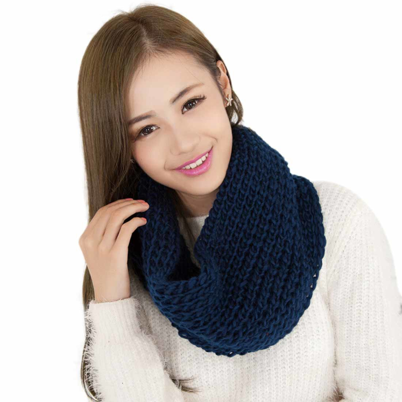Amazing Brand New Fashion Solid Color Women Winter Scarves Warm 2 Circle Knitted Ring Scarf Shawl Neck Warmer(China (Mainland))