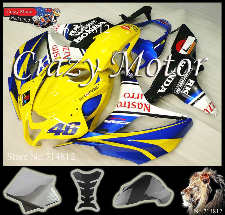 Honda CBR600RR 2007 2008 yellow blue CBR 600RR Injection Mold ABS Fairing Set Plastic Kit 12 - Crazy Motor store