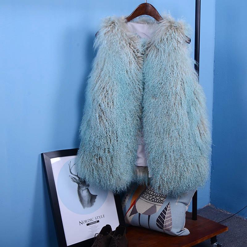 mongolian lamb fur vest blue