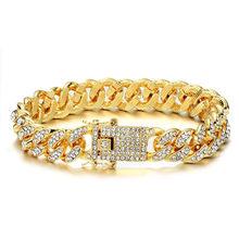 שרשרת + שעון + צמיד היפ הופ מיאמי לרסן קובני שרשרת זהב כסף אייס מתוך סלול Rhinestones CZ בלינג ראפר עבור גברים תכשיטים(China)