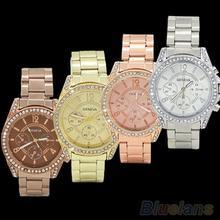 Mujeres de moda de ginebra Bling cristal acero inoxidable de cuarzo analógico reloj de pulsera 2EDQ