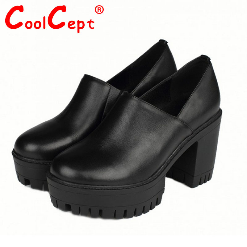 Coolcept free shipping genuine leather wedge high heel shoes platform women sexy dress fashion R3270 hot sale EUR size 34-39<br><br>Aliexpress