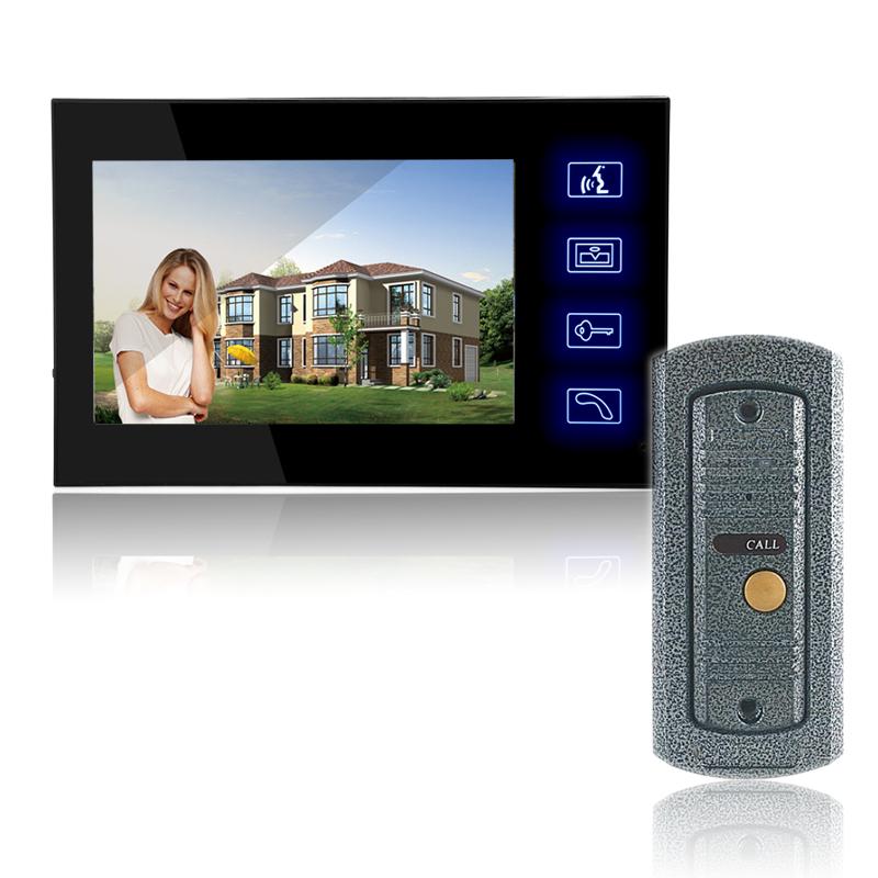 All-Metal Outer Casing Embedded Install 7 Inch Color LCD Video Door Phone Intercom System Door Release Unlock Doorbell Camera(China (Mainland))