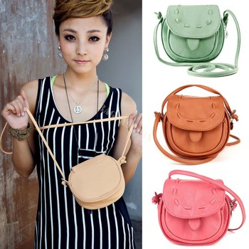 Korea Girls Handmade Musette Drum leather bag Pattern Small Shoulder bag messenger Handbag 25