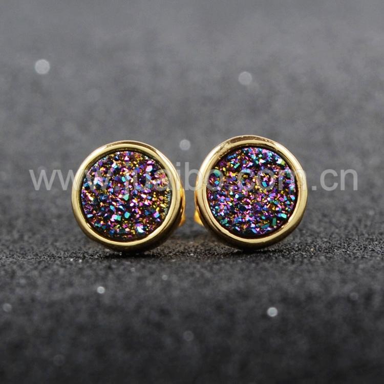 8mm Round Natural Agate Titanium Druzy Stud Earrings Golden  Rainbow Titanium Druzy Geode Studs Gemstone  Druzy Jewelry G0198-2<br><br>Aliexpress