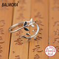 BALMORA 100 Real Pure 925 Sterling Silver Ring Jewelry Cute Leaf Open rings for Women Girls