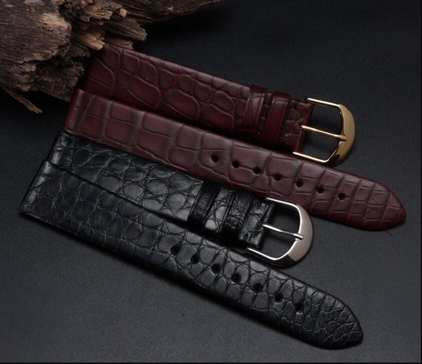 Женщин людей часы полоса 18 мм 20 мм черный коричневый ультратонких настоящее крокодил из натуральной кожи ремешок золото развертывания застежка пряжка