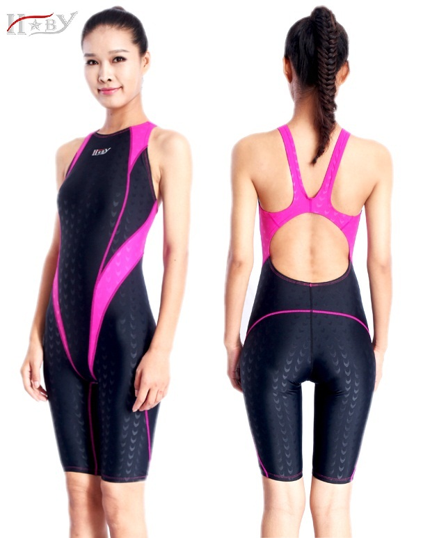 Здесь можно купить  HXBY one piece swimsuit racing swimwear chlorine resistant training swimming suit professional sharkskin knee length swimsuits  Спорт и развлечения