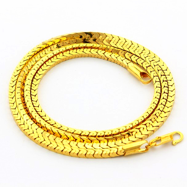 2014 Hot Sale Punk Style Trendy Necklace Top Quality 24 K Vacuum Plated 3.5 MM Width Real Gold Chain Necklace For Men JJP051(China (Mainland))