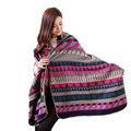 Fall Winter Shawls Casual Womens Bopp Pattern Cape Woolen Poncho Jacket Lady Winter Warm Hooded Cloak