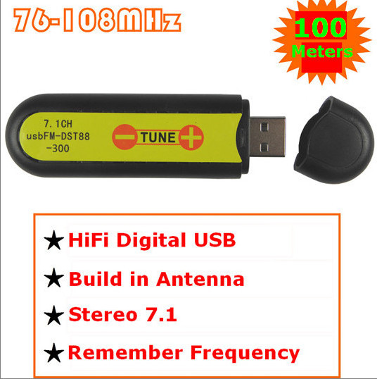 USB FM broadcast transmitter wireless sound card stereo 7.1 channel 100meters FM-FU88-100(China (Mainland))