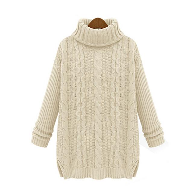 Knitting Patterns For Winter Sweaters : Turtleneck Winter Sweaters Women Pullovers Tops Woman ...