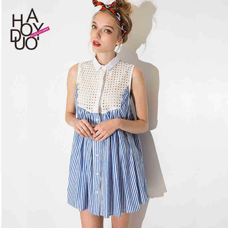 Women Sweet Grid Stitching Pinstripe Shirt Design Casual ...