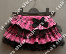 Retail Lace Skirt Baby Skirt TUTU NURSERY RHYME grid pleater layered bow accessory mini skirt, free shipping(only 6-12M one size(China (Mainland))