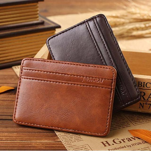 Роскошные мужские бумажник кожаный Нейтральной Магии Двойные Кожаный Бумажник Карты ...