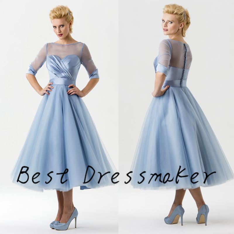 Trend Vintage Ice Blue Wedding Dress 2016 Mid Calf Robe de Mariage ...