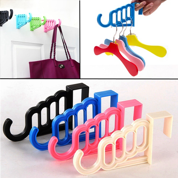 Hot New Fashion Durable Multi-function Plastic Door Bathroom Wall Bag Hanger Hook Hat Towel Hanging Rack For Coat Clothes Holder(China (Mainland))