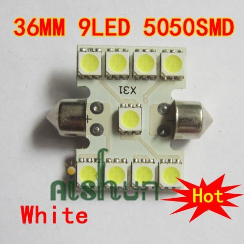 Wholesale 100pcs/lot White 36mm 9LED 5050SMD Dome Light Automobile Roof Lamp Bulbs